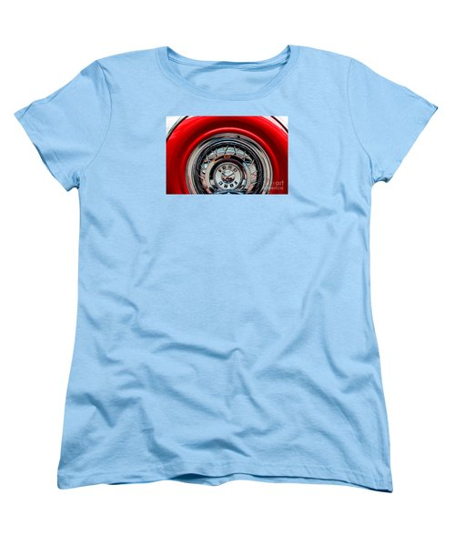 Women's T-Shirt (Standard Cut) featuring the photograph 1958 Ford Crown Victoria Wheel by M G Whittingham