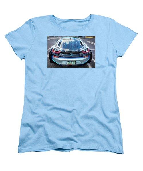 Women's T-Shirt (Standard Cut) featuring the photograph 2015 Bmw I8 Hybrid Sports Car by Rich Franco