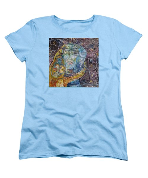 Women's T-Shirt (Standard Cut) featuring the painting 2 Angels Hugging Environmental Warrior Goddess by Carol Rashawnna Williams