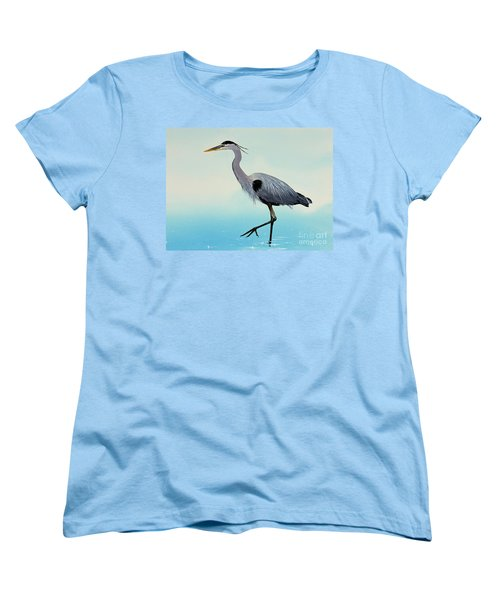 Women's T-Shirt (Standard Cut) featuring the painting Blue Water Heron by James Williamson