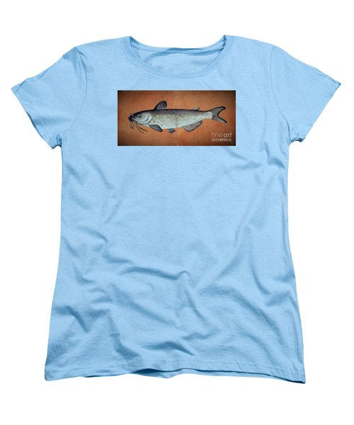 Women's T-Shirt (Standard Cut) featuring the drawing Catfish by Andrew Drozdowicz