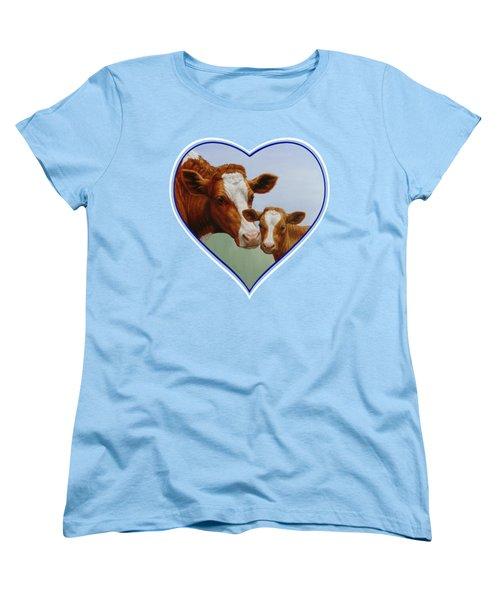 Cow And Calf Blue Heart Women's T-Shirt (Standard Cut) by Crista Forest