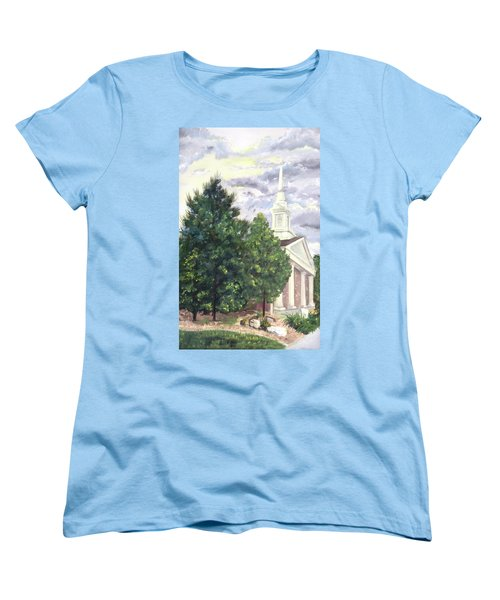Women's T-Shirt (Standard Cut) featuring the painting Hale Street Chapel by Jane Autry