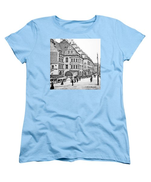 Women's T-Shirt (Standard Cut) featuring the photograph Munich Germany Street Scene 1903 Vintage Photograph by A Gurmankin