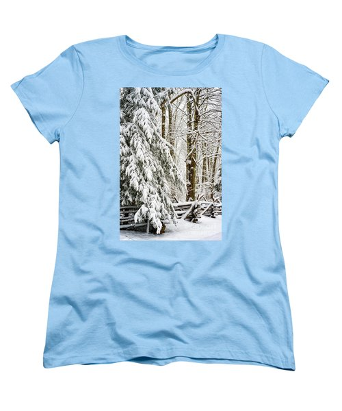 Women's T-Shirt (Standard Cut) featuring the photograph Rail Fence And Snow by Thomas R Fletcher