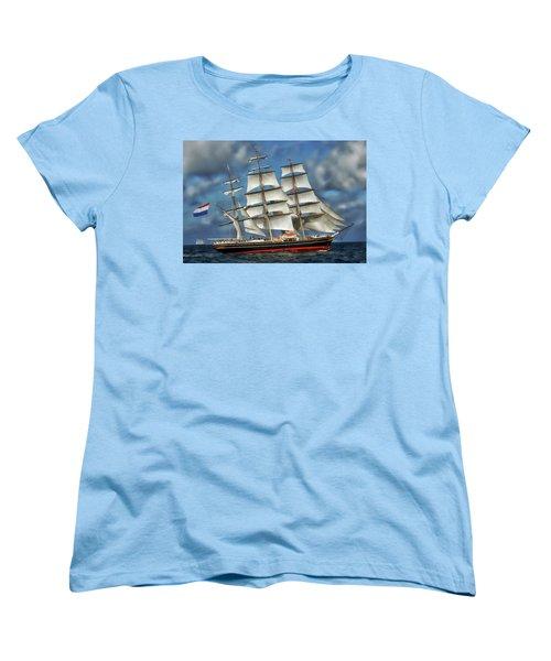 Three Mast Schooner Women's T-Shirt (Standard Cut) by Anthony Dezenzio