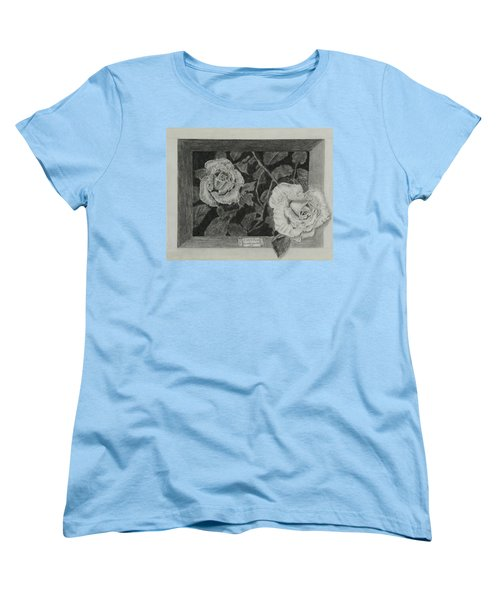 Women's T-Shirt (Standard Cut) featuring the drawing 2 White Roses by Quwatha Valentine