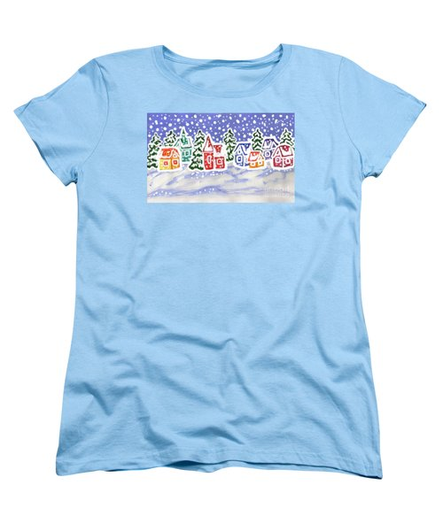 Winter Landscape With Multicolor Houses, Painting Women's T-Shirt (Standard Cut) by Irina Afonskaya