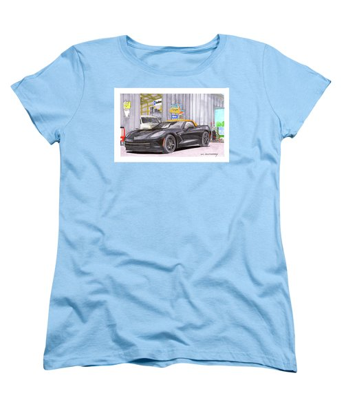 Women's T-Shirt (Standard Cut) featuring the painting 2014 Corvette And Man Cave Garage by Jack Pumphrey