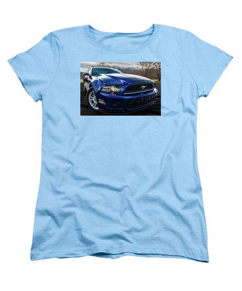 Women's T-Shirt (Standard Cut) featuring the photograph 2014 Ford Mustang by Randy Scherkenbach