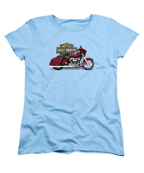 Women's T-Shirt (Standard Cut) featuring the digital art 2017 Harley-davidson Street Glide Special Motorcycle With 3d Badge Over Vintage Background  by Serge Averbukh
