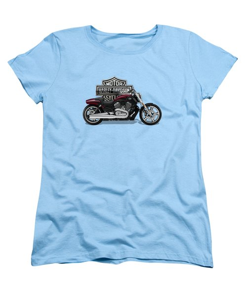 Women's T-Shirt (Standard Cut) featuring the digital art 2017 Harley-davidson V-rod Muscle Motorcycle With 3d Badge Over Vintage Background  by Serge Averbukh