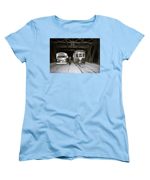 Women's T-Shirt (Standard Cut) featuring the photograph 207th Street Crosstown Trolley by Cole Thompson