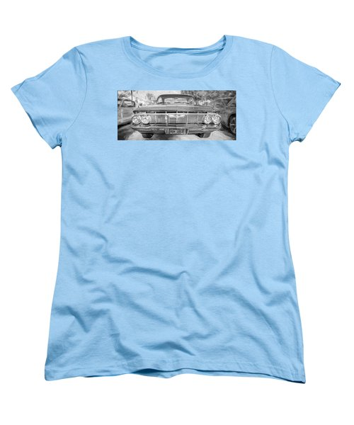 Women's T-Shirt (Standard Cut) featuring the photograph 1961 Chevrolet Impala Ss Bw by Rich Franco