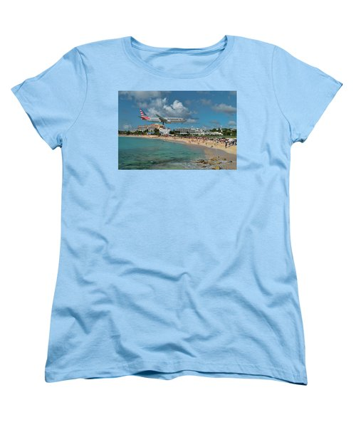 American Airlines At St. Maarten Women's T-Shirt (Standard Cut) by David Gleeson