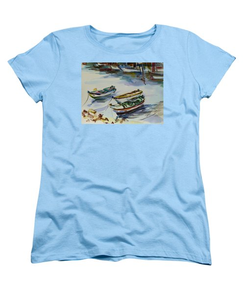 Women's T-Shirt (Standard Cut) featuring the painting 3 Boats I by Xueling Zou