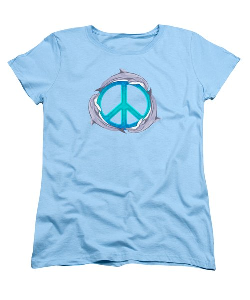 Dolphin Peace Women's T-Shirt (Standard Cut) by Chris MacDonald