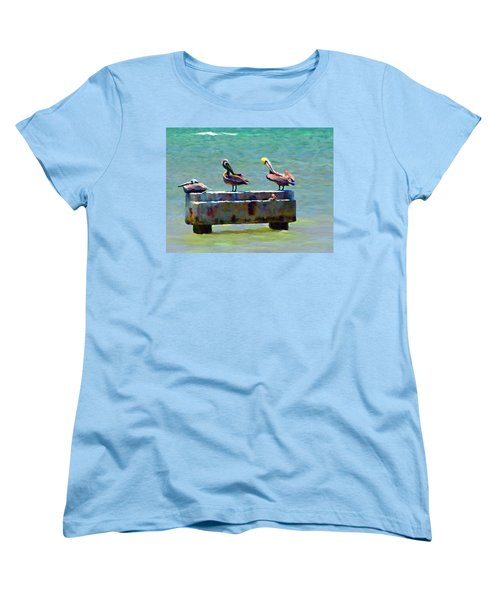 Women's T-Shirt (Standard Cut) featuring the painting 3 Pelicans by David  Van Hulst