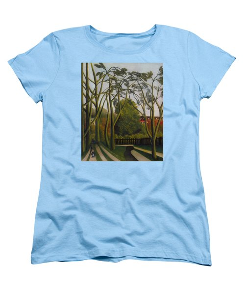 Women's T-Shirt (Standard Cut) featuring the painting The Banks Of The Bievre Near Bicetre by Henri Rousseau