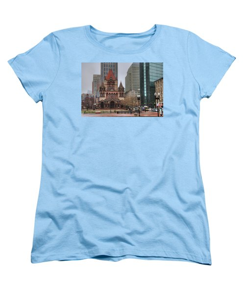 Women's T-Shirt (Standard Cut) featuring the photograph Trinity Church - Copley Square - Boston by Joann Vitali