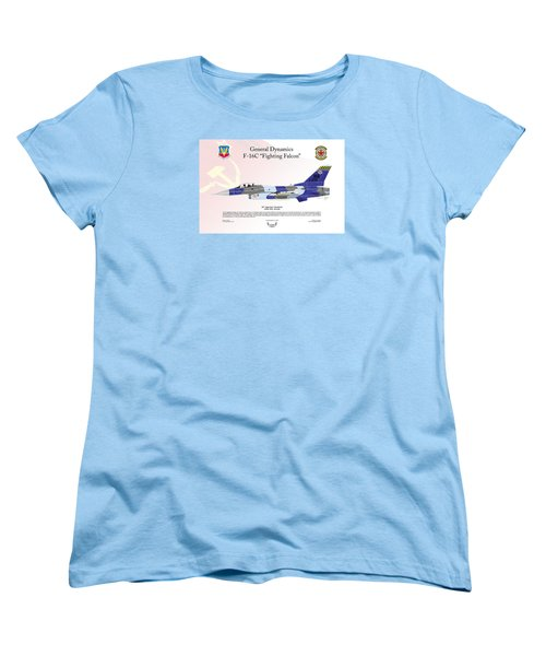 Women's T-Shirt (Standard Cut) featuring the digital art General Dynamics F-16 Fighting Falcon Aggressors by Arthur Eggers