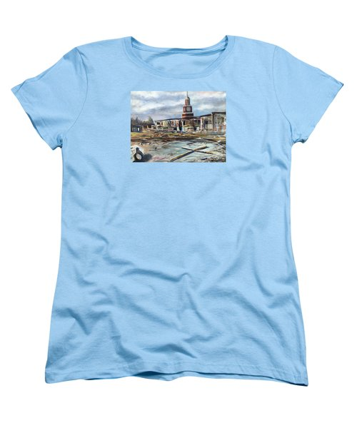 Women's T-Shirt (Standard Cut) featuring the painting Union University Jackson Tennessee 7 02 P M by Randol Burns