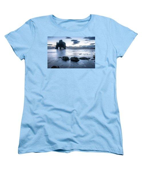 Dinosaur Rock Beach In Iceland Women's T-Shirt (Standard Cut) by Joe Belanger