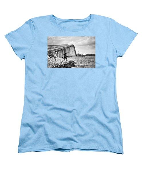 7 Mile Bridge B_w Women's T-Shirt (Standard Cut) by John McArthur