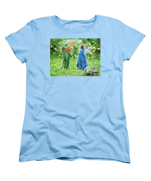 A Dragon Confides In A Fairy Women's T-Shirt (Standard Cut) by Lise Winne