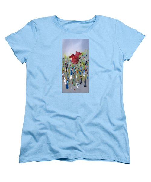 Women's T-Shirt (Standard Cut) featuring the painting A Face In The Crowd by Mary Kay Holladay