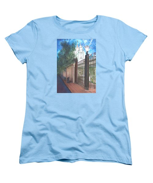 Women's T-Shirt (Standard Cut) featuring the painting A Light Unto The World by Jane Autry