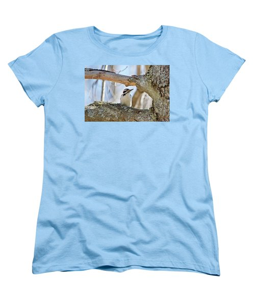 Women's T-Shirt (Standard Cut) featuring the photograph A Male Downey Woodpecker  1111 by Michael Peychich