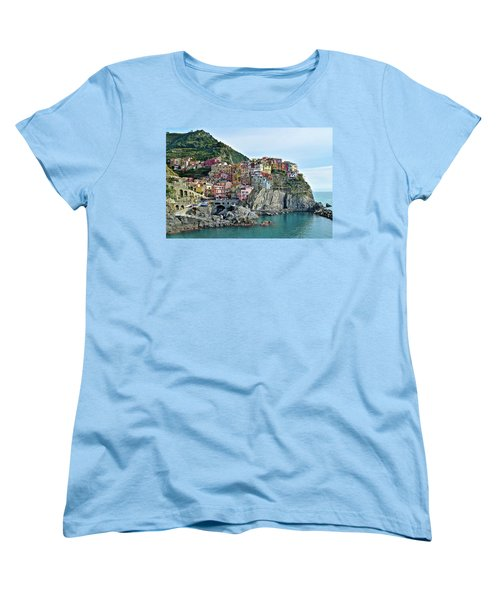 Women's T-Shirt (Standard Cut) featuring the photograph A Manarola Morning by Frozen in Time Fine Art Photography