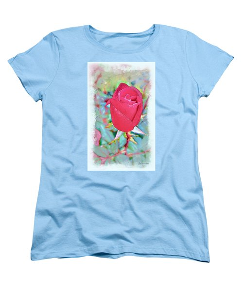 Women's T-Shirt (Standard Cut) featuring the photograph A Single Rose In October by Joan  Minchak