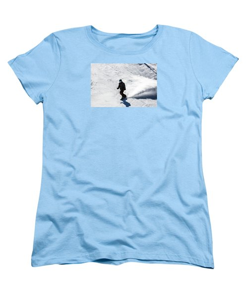 A Snowboarder Descends Aspen Mountain Women's T-Shirt (Standard Cut) by Carol M Highsmith