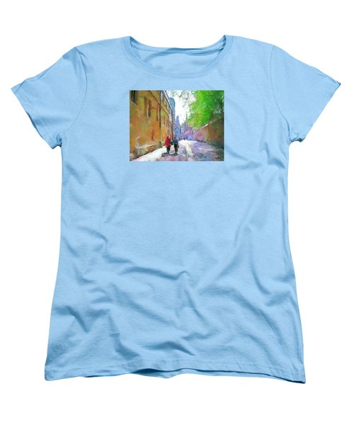 Women's T-Shirt (Standard Cut) featuring the painting A Stroll In The Alley by Wayne Pascall