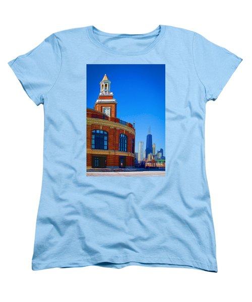 A Textured Navy Pier Women's T-Shirt (Standard Cut) by Kathleen Scanlan