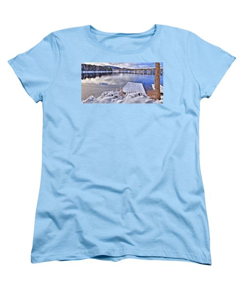 Women's T-Shirt (Standard Cut) featuring the photograph A Winter Day On West Lake by David Patterson