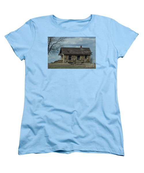 Women's T-Shirt (Standard Cut) featuring the photograph Abandoned Kansas Stone House by Mark McReynolds