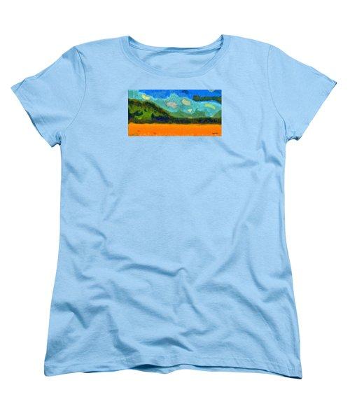 Women's T-Shirt (Standard Cut) featuring the digital art Above The Woods by Spyder Webb
