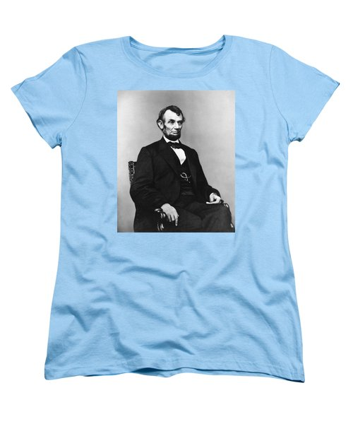 Women's T-Shirt (Standard Cut) featuring the photograph Abraham Lincoln Portrait - Used For The Five Dollar Bill - C 1864 by International  Images