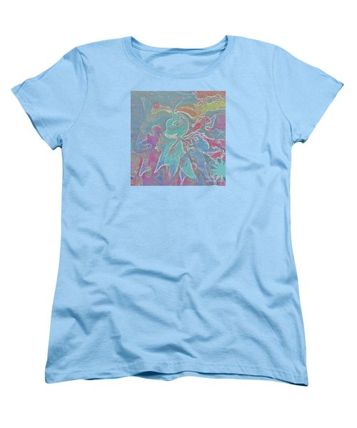 Women's T-Shirt (Standard Cut) featuring the painting Abstract Art Fun Flower By Sherriofpalmspring by Sherri  Of Palm Springs