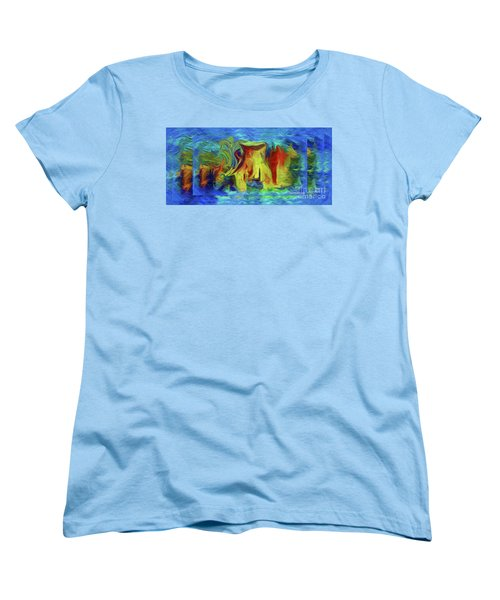 Abstract Artgo With The Flow Women's T-Shirt (Standard Cut) by Sherri's Of Palm Springs