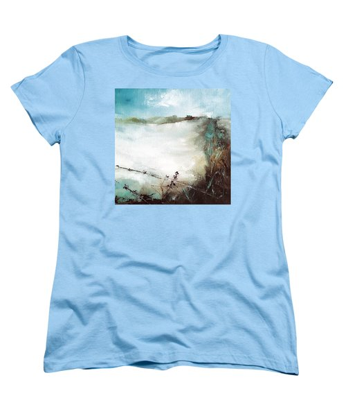 Abstract Barbwire Pasture Landscape Women's T-Shirt (Standard Cut) by Michele Carter