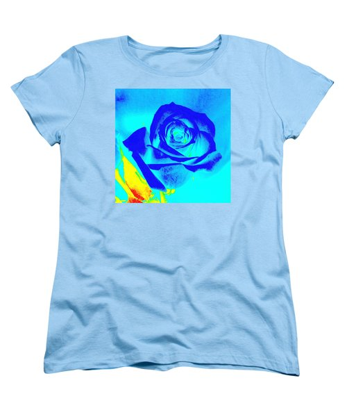 Abstract Blue Rose Women's T-Shirt (Standard Cut) by Karen J Shine