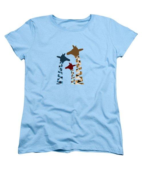 Abstract Colored Giraffe Family Women's T-Shirt (Standard Cut) by Brigitte Carre