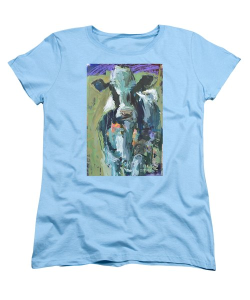 Women's T-Shirt (Standard Cut) featuring the painting Abstract Cow Painting by Robert Joyner
