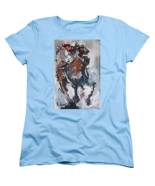 Women's T-Shirt (Standard Cut) featuring the painting Abstract Horse Racing Painting by Robert Joyner