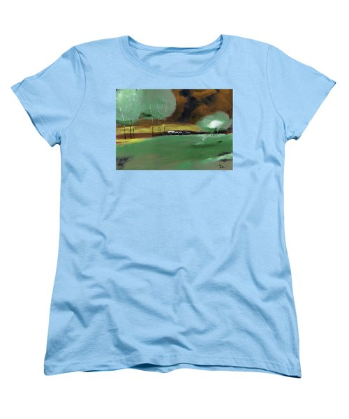 Women's T-Shirt (Standard Cut) featuring the painting Abstract Landscape by Anil Nene