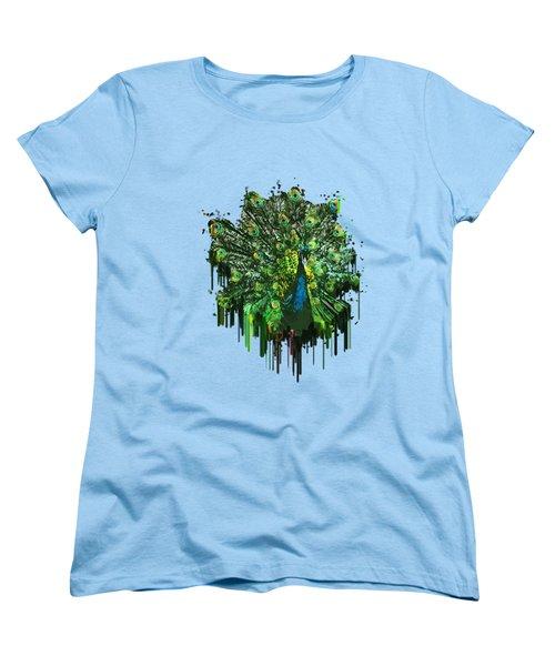 Abstract Peacock Acrylic Digital Painting Women's T-Shirt (Standard Cut) by Georgeta Blanaru